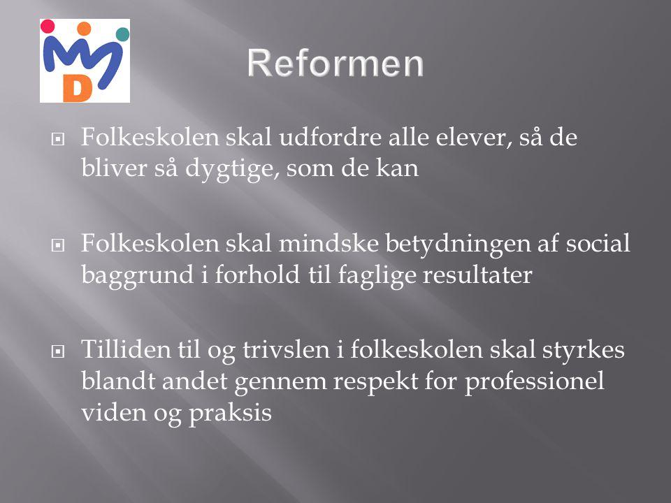 Reformen Folkeskolen skal udfordre alle elever, så de bliver så dygtige, som de kan.