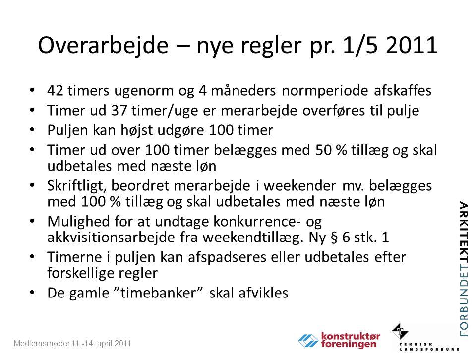 Overarbejde – nye regler pr. 1/5 2011