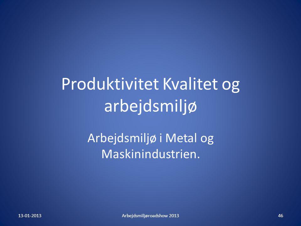 Produktivitet Kvalitet og arbejdsmiljø