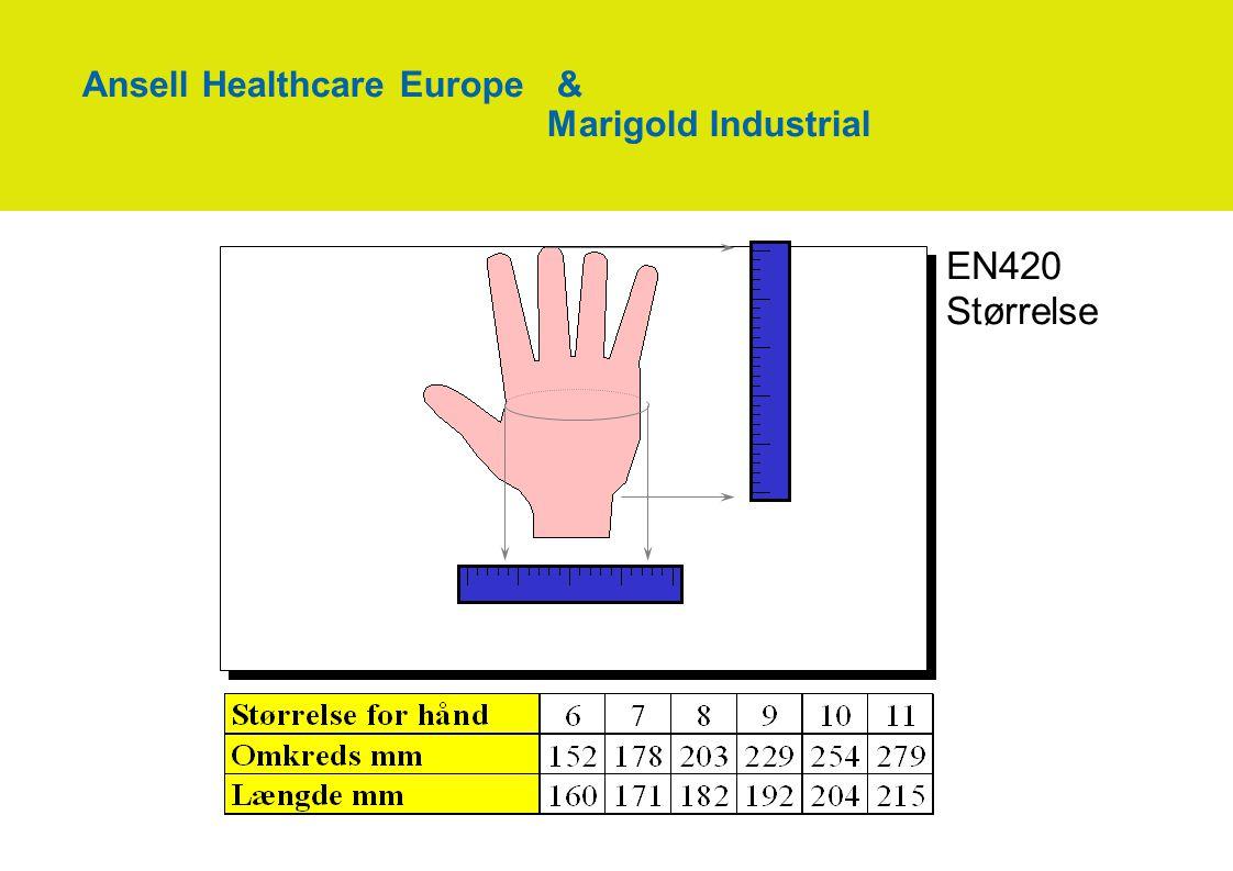 EN420 Størrelse Ansell Healthcare Europe & Marigold Industrial
