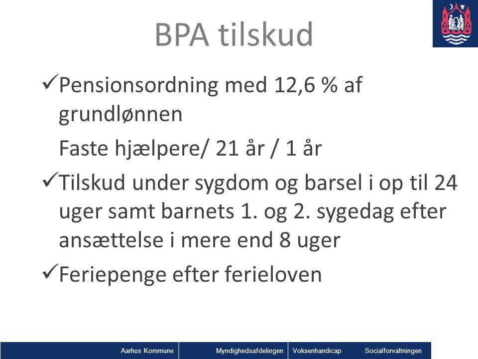 BPA tilskud Pensionsordning med 12,6 % af grundlønnen
