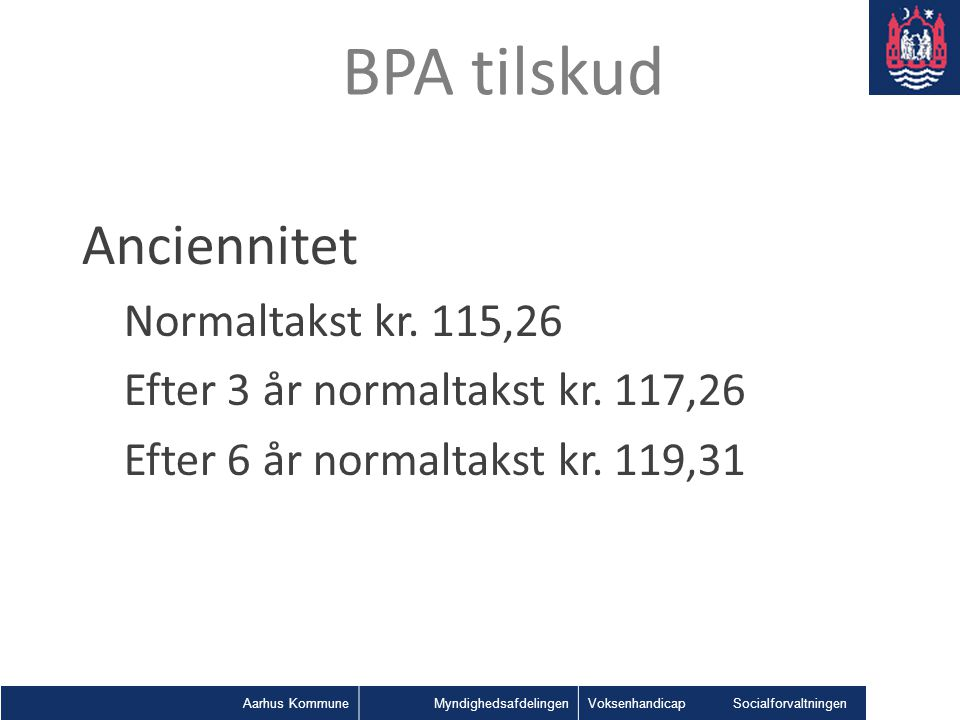 BPA tilskud Anciennitet Normaltakst kr. 115,26