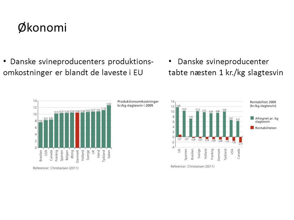 Økonomi Danske svineproducenters produktions-omkostninger er blandt de laveste i EU.