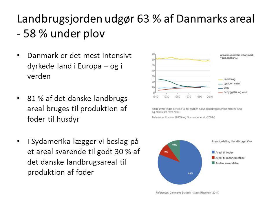 Landbrugsjorden udgør 63 % af Danmarks areal - 58 % under plov