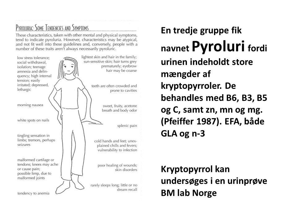 En tredje gruppe fik navnet Pyroluri fordi urinen indeholdt store mængder af kryptopyrroler. De behandles med B6, B3, B5 og C, samt zn, mn og mg. (Pfeiffer 1987). EFA, både GLA og n-3