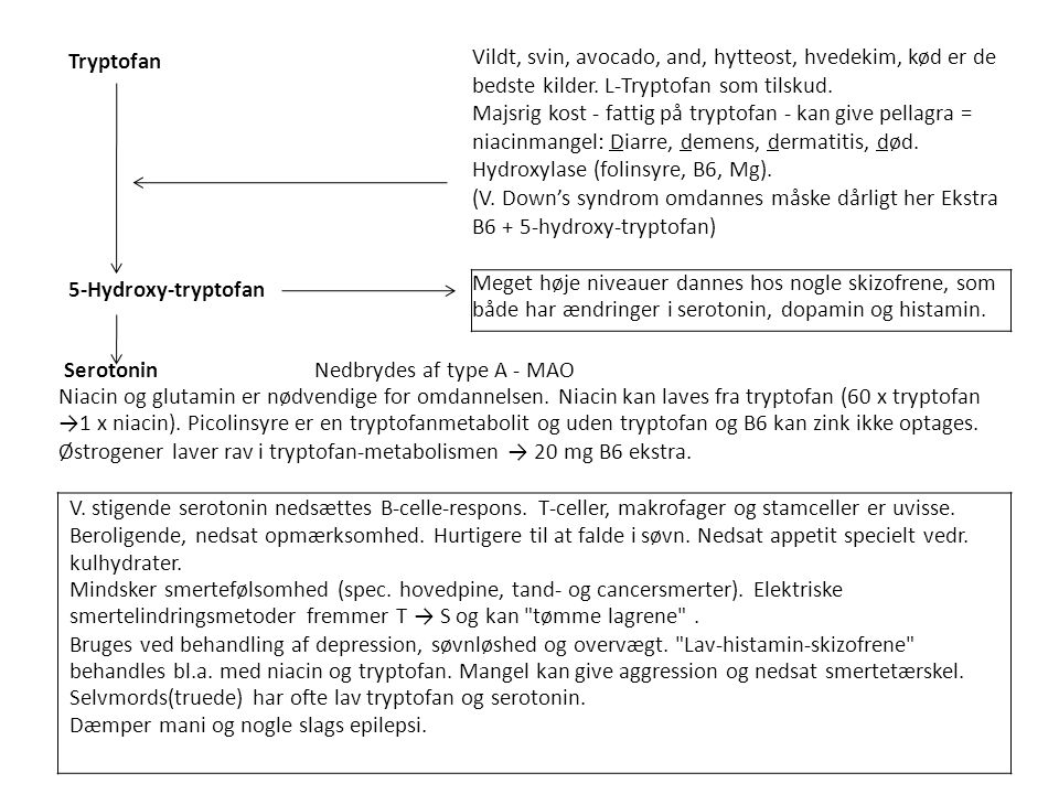 Tryptofan Vildt, svin, avocado, and, hytteost, hvedekim, kød er de bedste kilder. L-Tryptofan som tilskud.