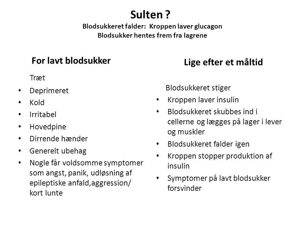Sulten Blodsukkeret falder: Kroppen laver glucagon Blodsukker hentes frem fra lagrene