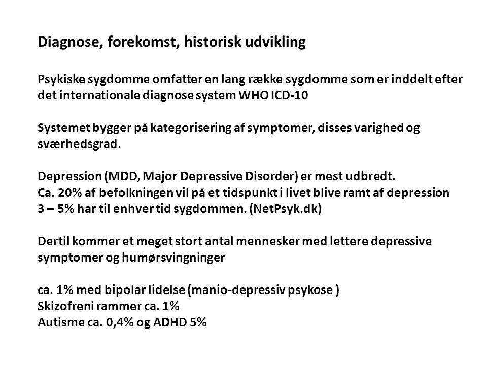 Diagnose, forekomst, historisk udvikling