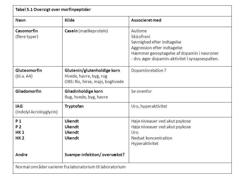 Tabel 5.1 Oversigt over morfinpeptider