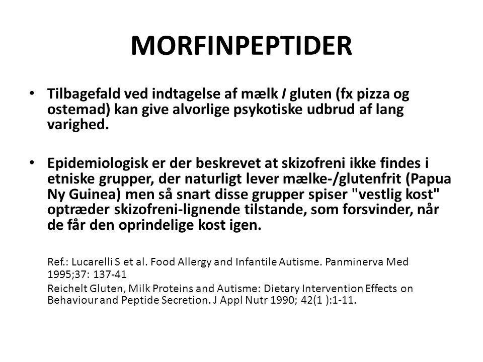 MORFINPEPTIDER Tilbagefald ved indtagelse af mælk I gluten (fx pizza og ostemad) kan give alvorlige psykotiske udbrud af lang varighed.