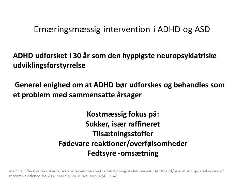 Ernæringsmæssig intervention i ADHD og ASD