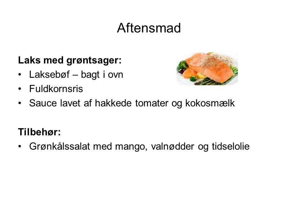 Aftensmad Laks med grøntsager: Laksebøf – bagt i ovn Fuldkornsris
