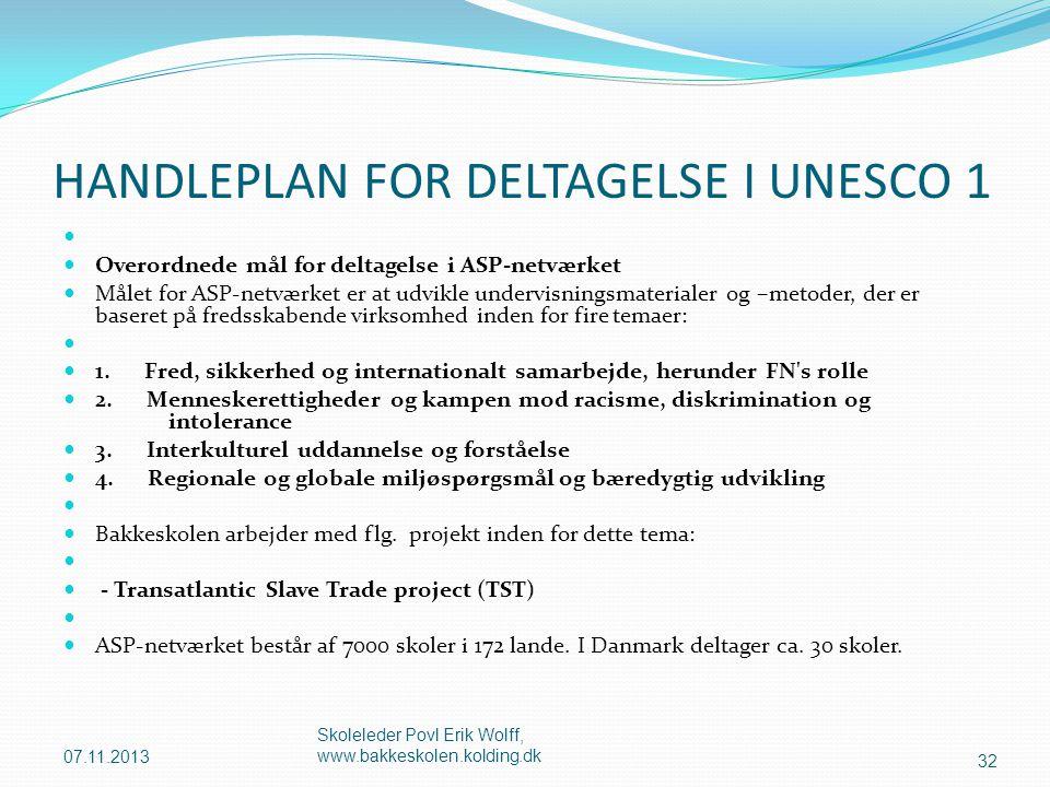 HANDLEPLAN FOR DELTAGELSE I UNESCO 1