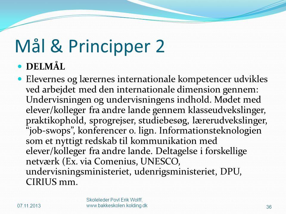 Mål & Principper 2 DELMÅL