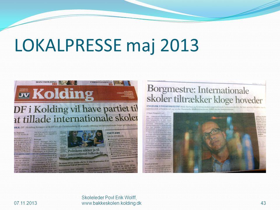 LOKALPRESSE maj 2013 07.11.2013 Skoleleder Povl Erik Wolff, www.bakkeskolen.kolding.dk