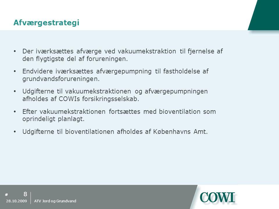 Afværgestrategi Der iværksættes afværge ved vakuumekstraktion til fjernelse af den flygtigste del af forureningen.