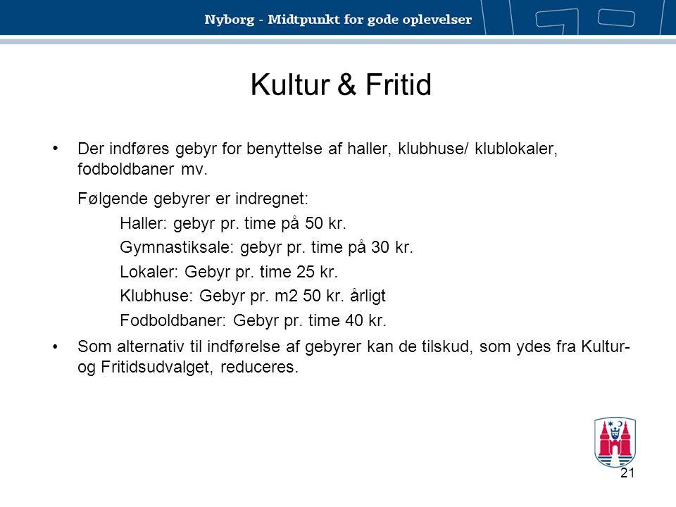 Kultur & Fritid Der indføres gebyr for benyttelse af haller, klubhuse/ klublokaler, fodboldbaner mv.