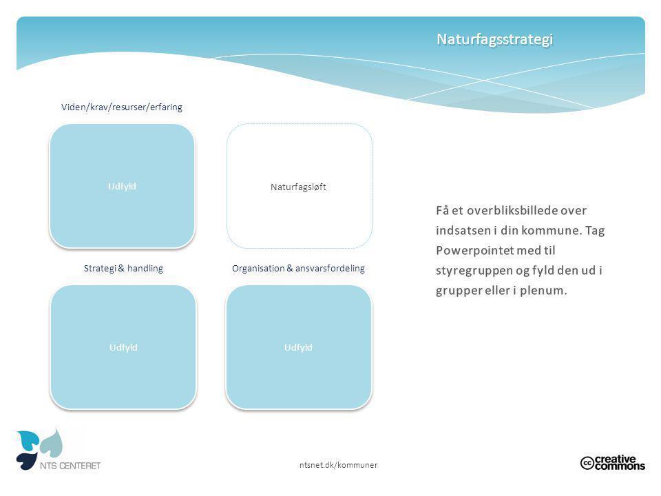 Naturfagsstrategi Viden/krav/resurser/erfaring. Udfyld. Udfyld. Naturfagsløft.