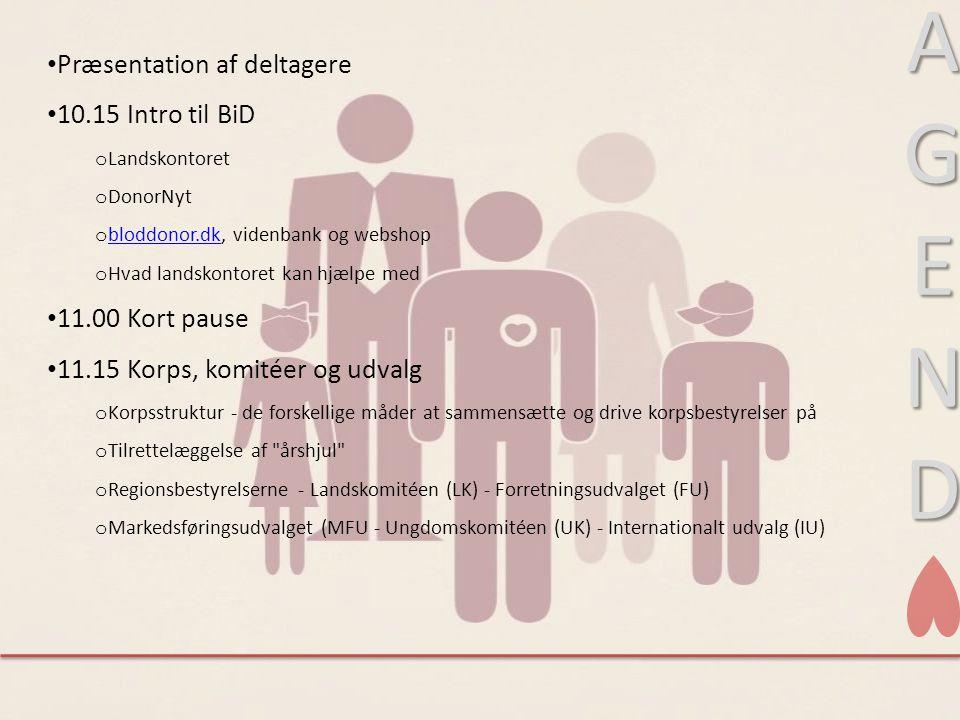 A G E N D Præsentation af deltagere 10.15 Intro til BiD