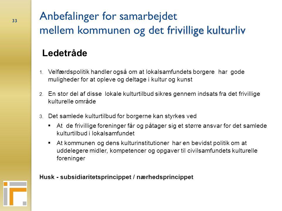 Anbefalinger for samarbejdet mellem kommunen og det frivillige kulturliv