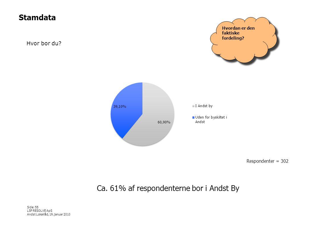 Ca. 61% af respondenterne bor i Andst By
