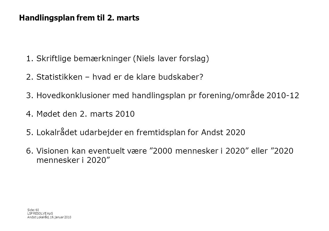 Handlingsplan frem til 2. marts