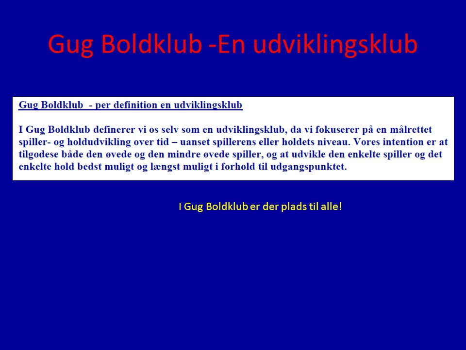 Gug Boldklub -En udviklingsklub