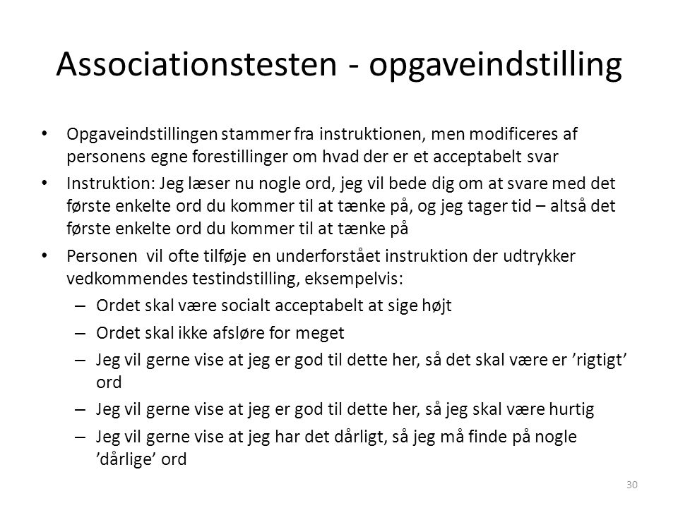 Associationstesten - opgaveindstilling