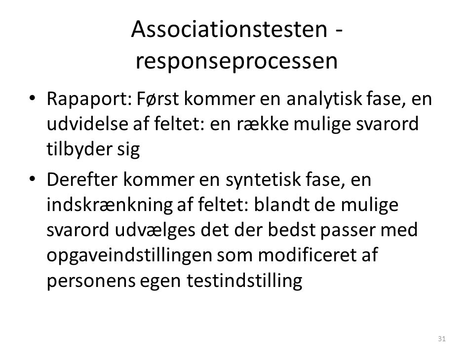 Associationstesten - responseprocessen