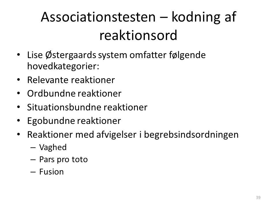 Associationstesten – kodning af reaktionsord