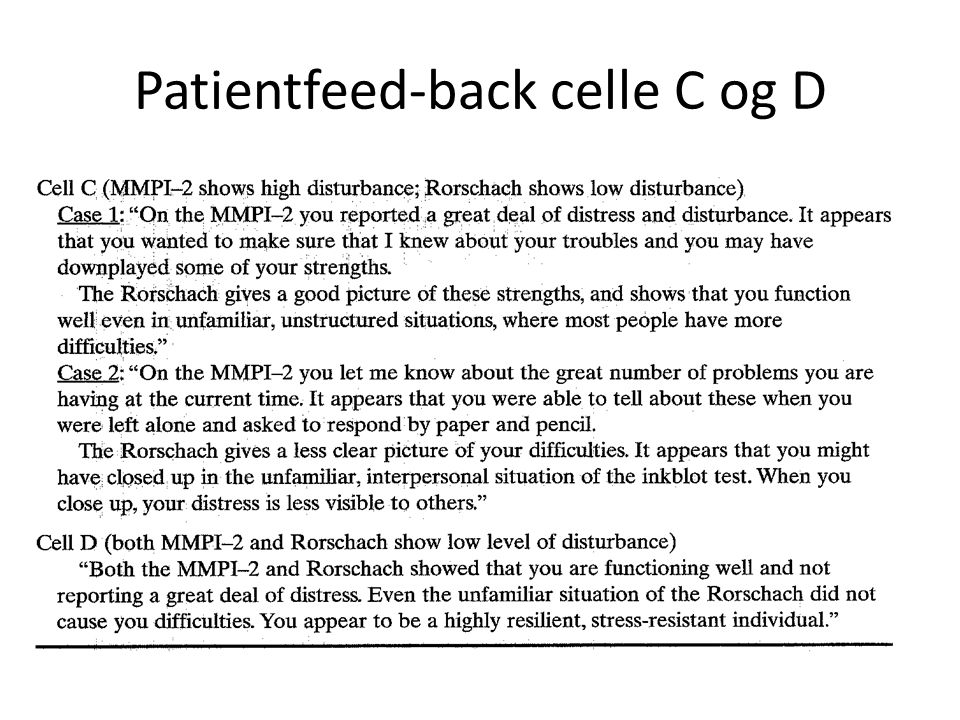 Patientfeed-back celle C og D