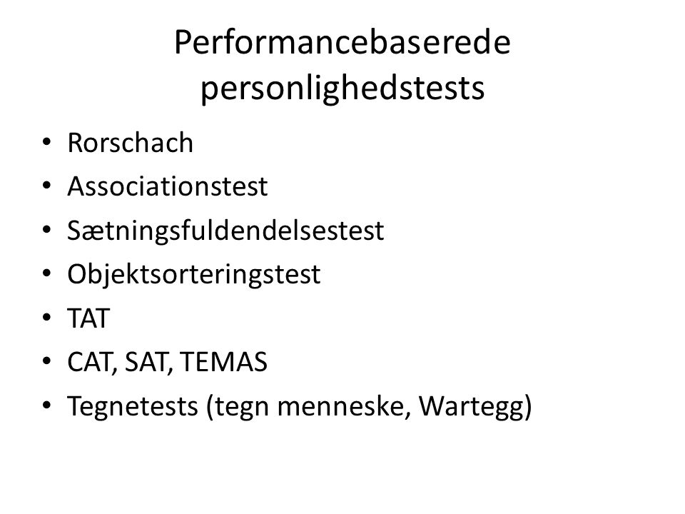 Performancebaserede personlighedstests