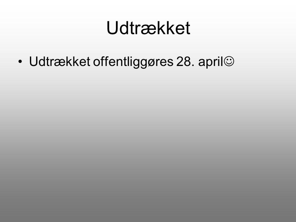 Udtrækket Udtrækket offentliggøres 28. april