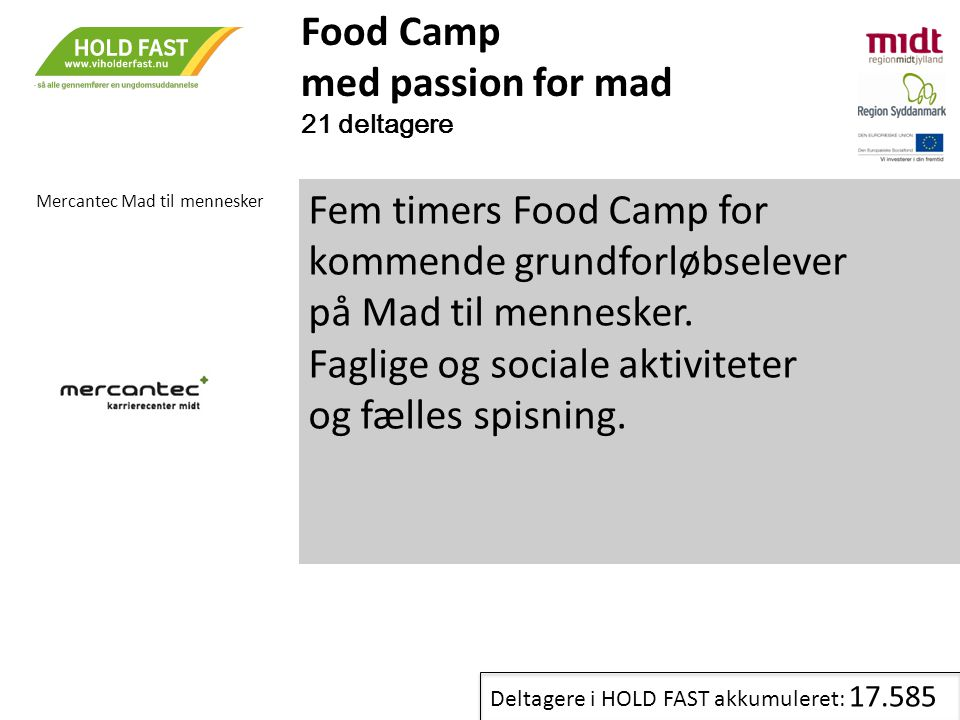 Fem timers Food Camp for kommende grundforløbselever
