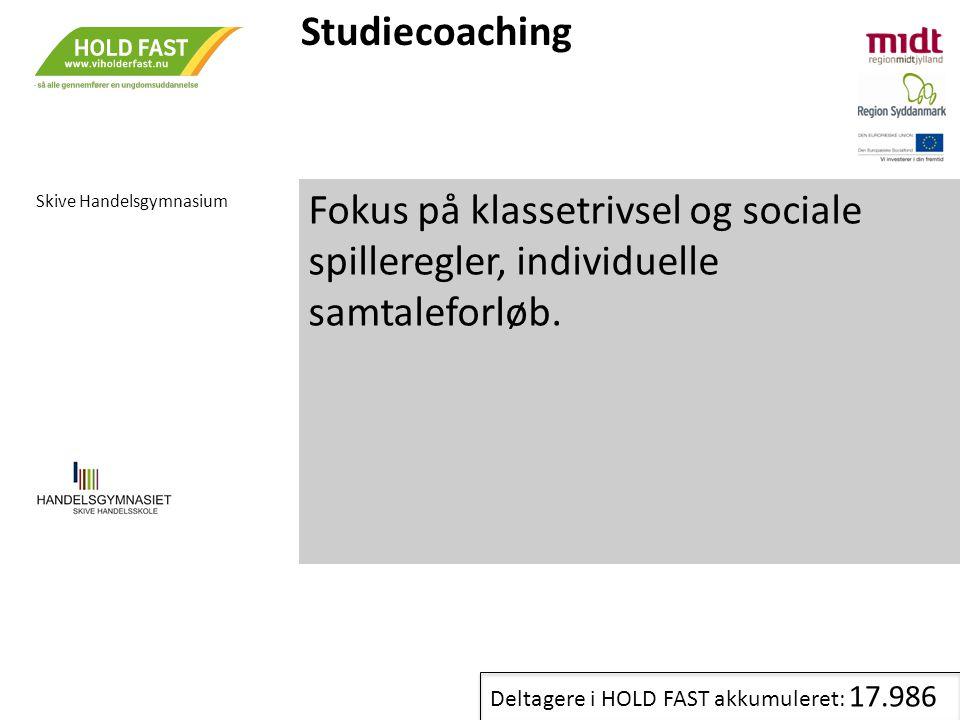Studiecoaching Skive Handelsgymnasium. Fokus på klassetrivsel og sociale spilleregler, individuelle samtaleforløb.