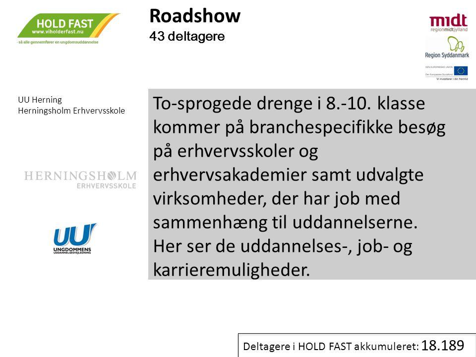 Roadshow 43 deltagere. UU Herning. Herningsholm Erhvervsskole.