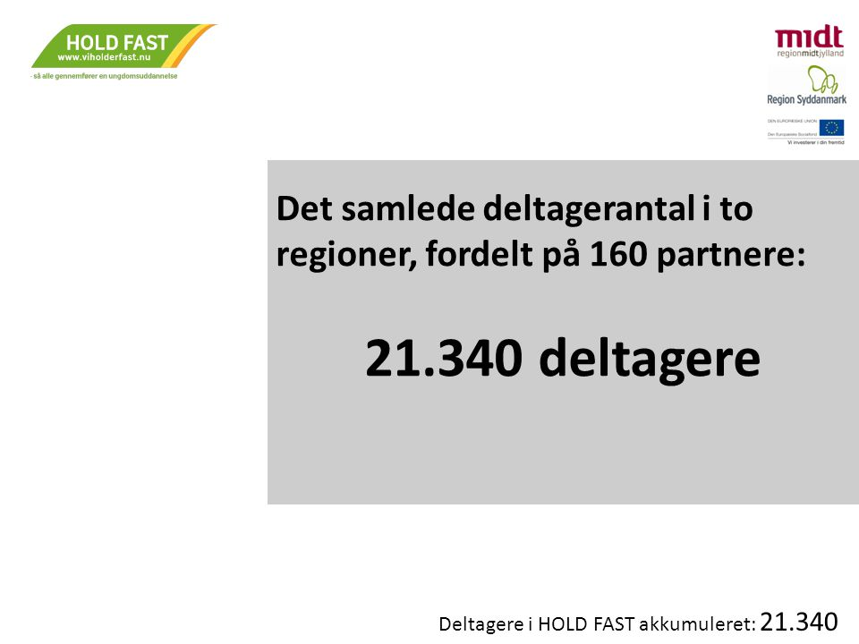 Det samlede deltagerantal i to regioner, fordelt på 160 partnere: