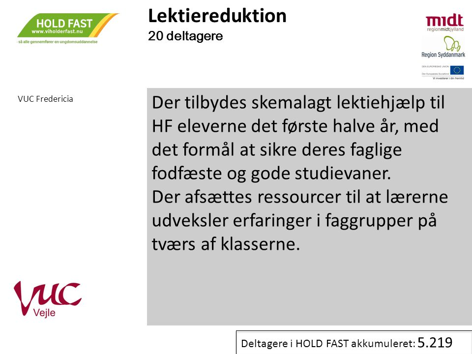 Lektiereduktion 20 deltagere. VUC Fredericia.