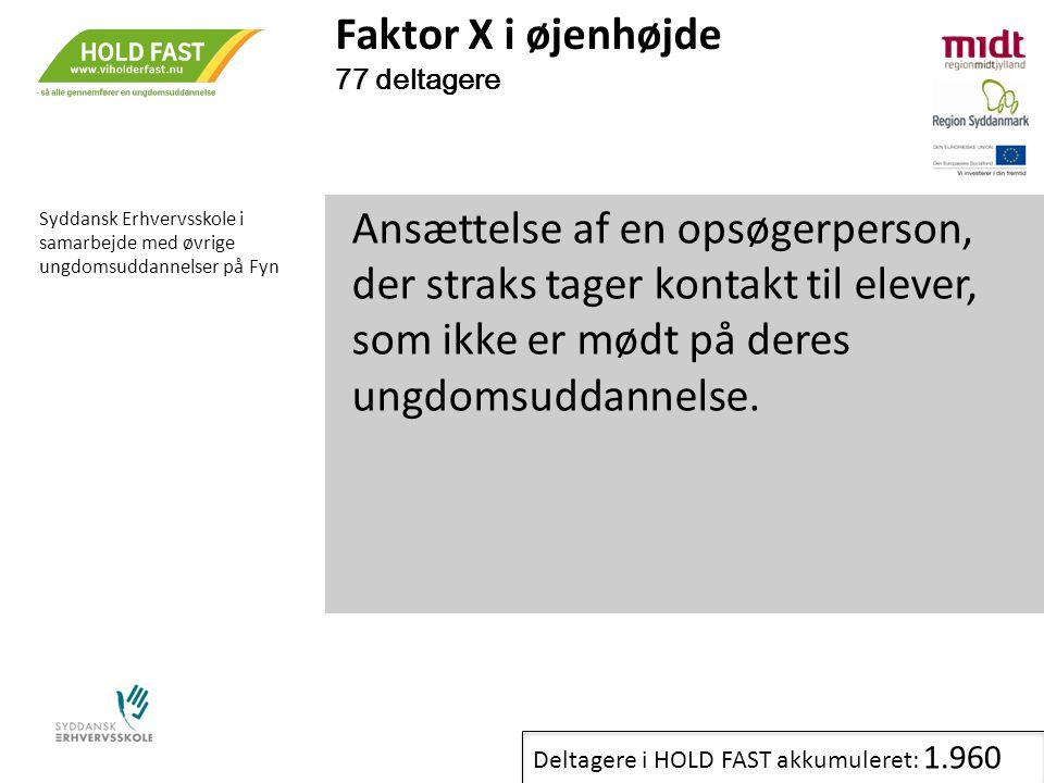 Faktor X i øjenhøjde 77 deltagere. Syddansk Erhvervsskole i samarbejde med øvrige ungdomsuddannelser på Fyn.