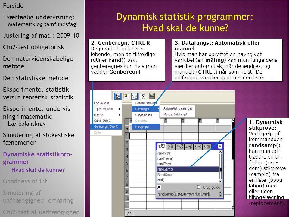 Dynamisk statistik programmer: Hvad skal de kunne