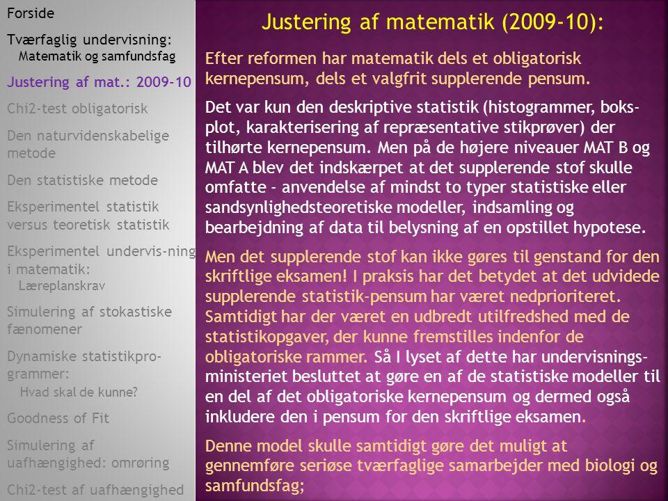 Justering af matematik (2009-10):