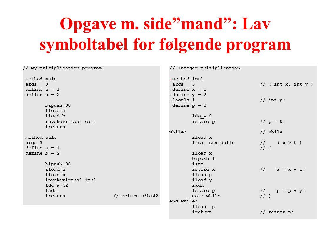 Opgave m. side mand : Lav symboltabel for følgende program