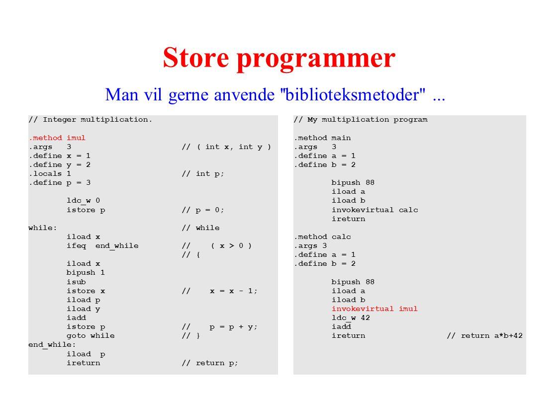 Store programmer Man vil gerne anvende biblioteksmetoder ...