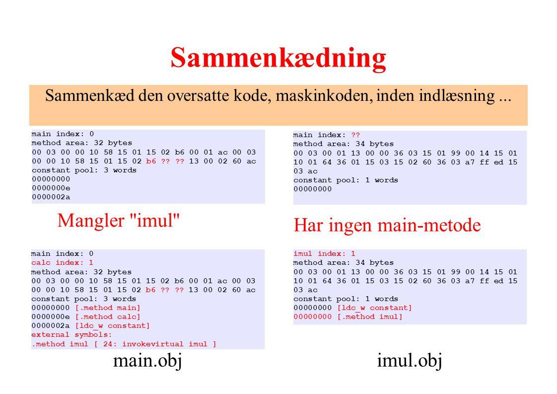 Sammenkæd den oversatte kode, maskinkoden, inden indlæsning ...