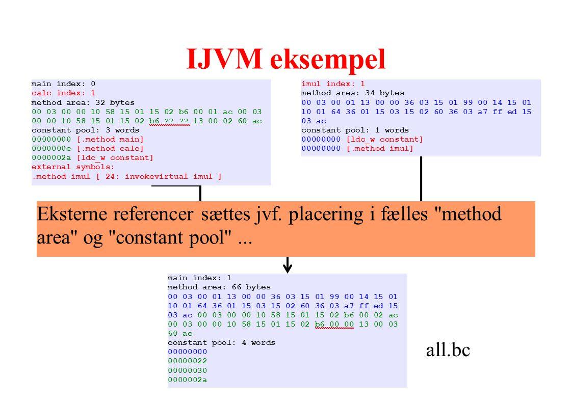 IJVM eksempel Linker. all.bc. main index: 1. method area: 66 bytes. 00 03 00 01 13 00 00 36 03 15 01 99 00 14 15 01.