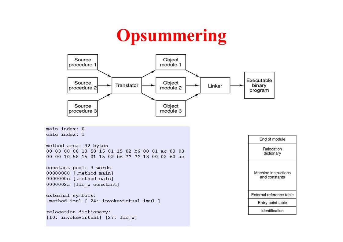 Opsummering main index: 0 calc index: 1 method area: 32 bytes