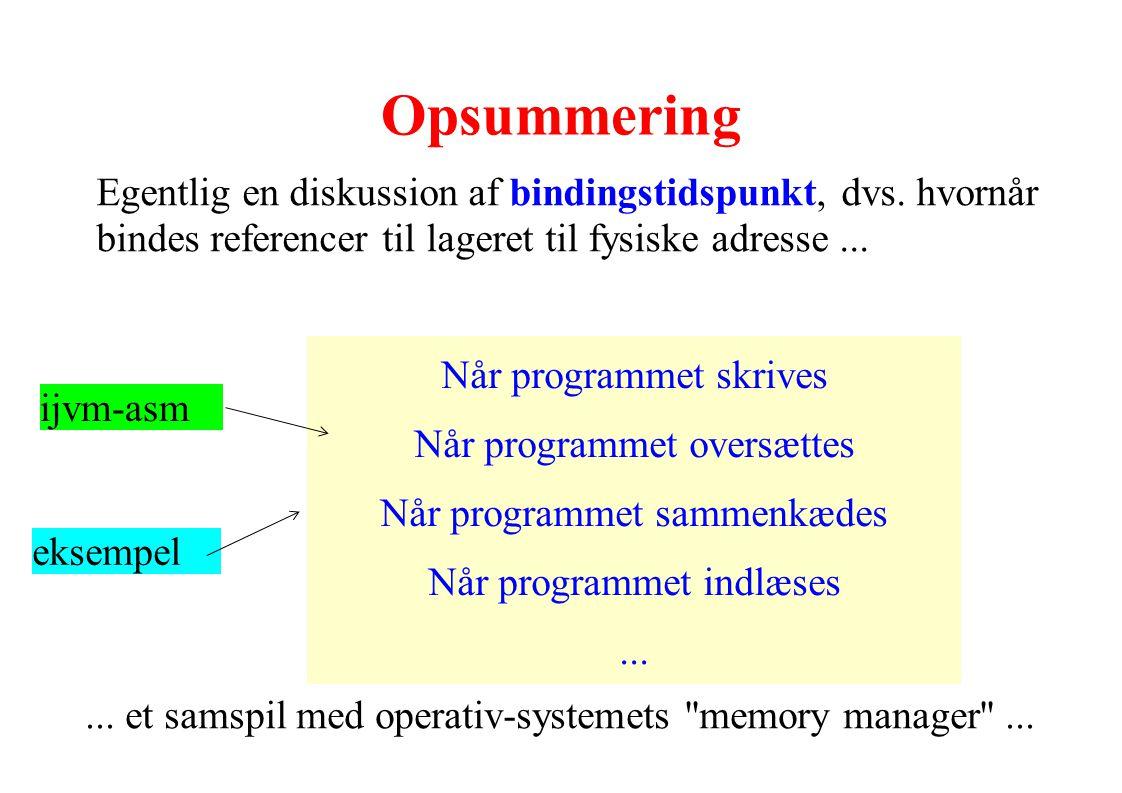 Opsummering Egentlig en diskussion af bindingstidspunkt, dvs. hvornår bindes referencer til lageret til fysiske adresse ...