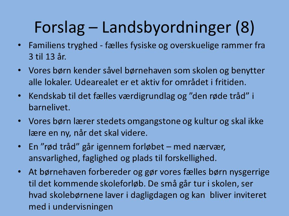 Forslag – Landsbyordninger (8)