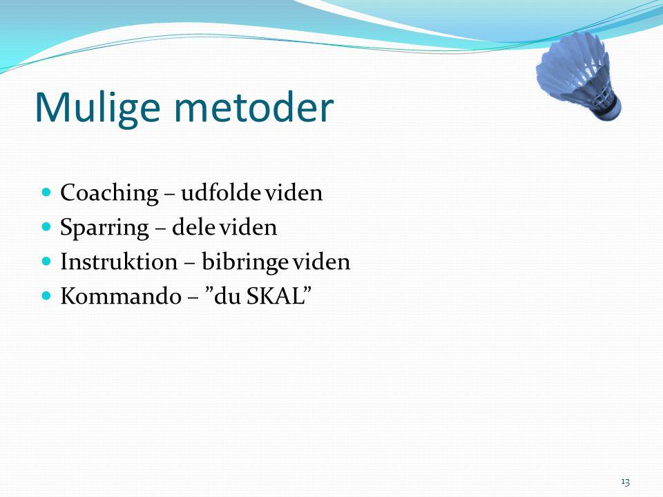 Mulige metoder Coaching – udfolde viden Sparring – dele viden