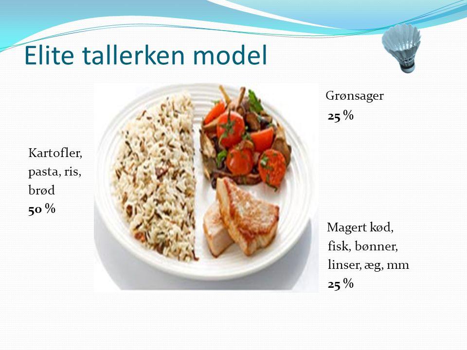 Elite tallerken model Grønsager 25 % Kartofler, pasta, ris, brød 50 %